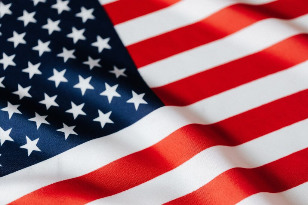 waving flag of united states of america