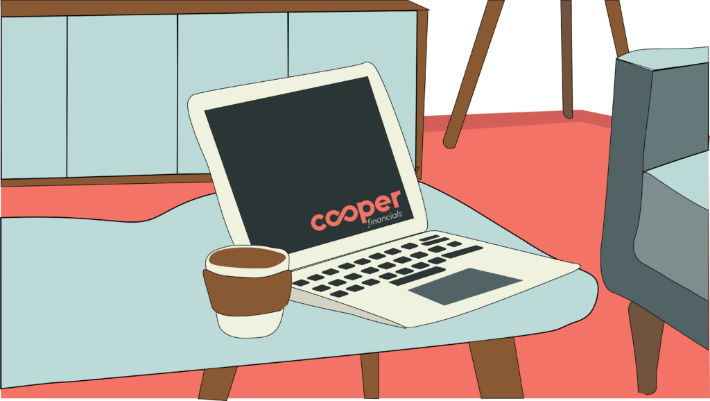 laptop with cooper financials logo to contact us via email